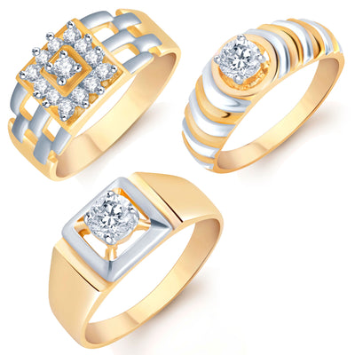 Pissara Incredible Gold Plated CZ Set of 3 Gents Ring Combo For Men