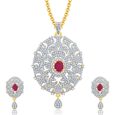 Pissara Posh Gold And Rhodium Plated Ruby CZ Pendant Set For Women