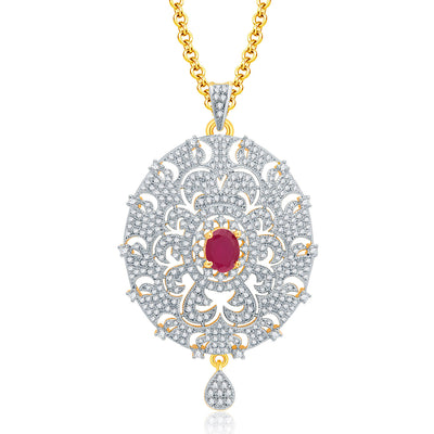 Pissara Posh Gold And Rhodium Plated Ruby CZ Pendant Set For Women-1