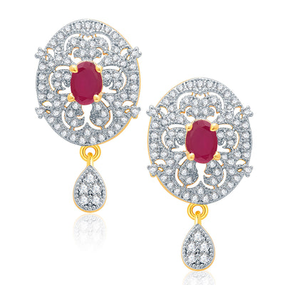 Pissara Posh Gold And Rhodium Plated Ruby CZ Pendant Set For Women-2