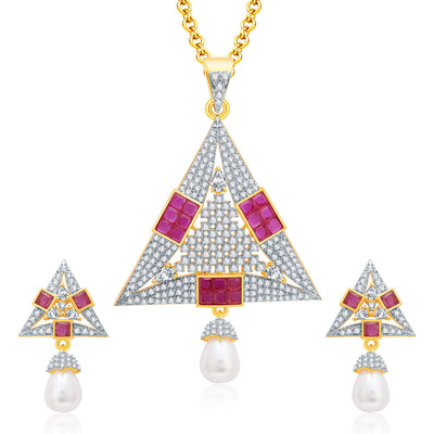 Pissara Fiery Gold And Rhodium Plated Ruby CZ Pendant Set For Women
