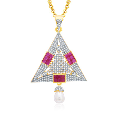 Pissara Fiery Gold And Rhodium Plated Ruby CZ Pendant Set For Women-1