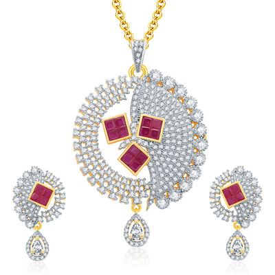 Pissara Eye Candy Gold And Rhodium Plated Ruby CZ Pendant Set For Women