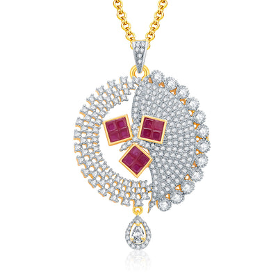 Pissara Eye Candy Gold And Rhodium Plated Ruby CZ Pendant Set For Women-1