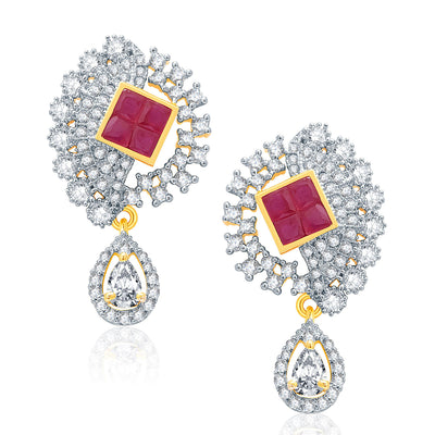Pissara Eye Candy Gold And Rhodium Plated Ruby CZ Pendant Set For Women-2