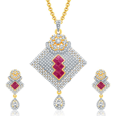Pissara Encrusted Gold And Rhodium Plated Ruby CZ Pendant Set For Women