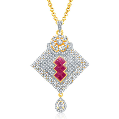 Pissara Encrusted Gold And Rhodium Plated Ruby CZ Pendant Set For Women-1