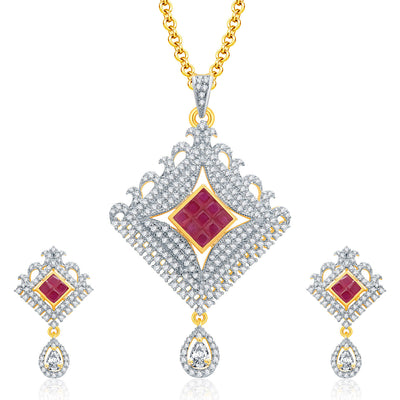 Pissara Glossy Gold And Rhodium Plated Ruby CZ Pendant Set For Women