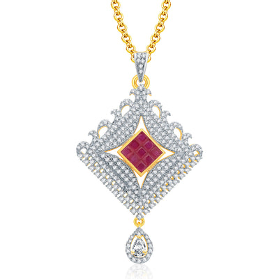 Pissara Glossy Gold And Rhodium Plated Ruby CZ Pendant Set For Women-1