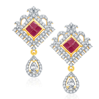 Pissara Glossy Gold And Rhodium Plated Ruby CZ Pendant Set For Women-2