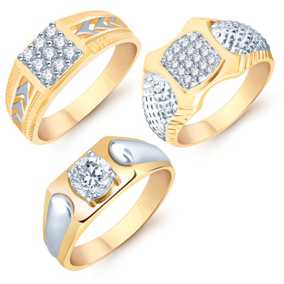 Pissara Modish Gold Plated CZ Set of 3 Gents Ring Combo For Men