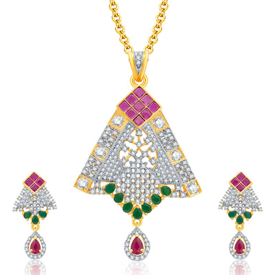 Pissara Feminine Gold And Rhodium Plated Ruby CZ Pendant Set For Women