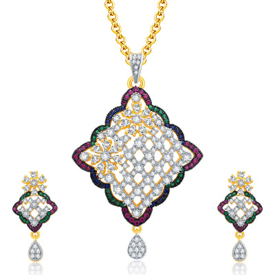 Pissara Sophisticated Gold And Rhodium Plated CZ Pendant Set For Women