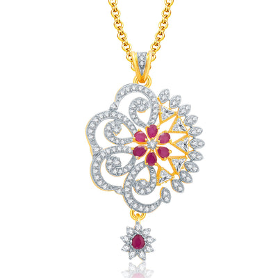 Pissara Fancy Gold And Rhodium Plated Ruby CZ Pendant Set For Women-1