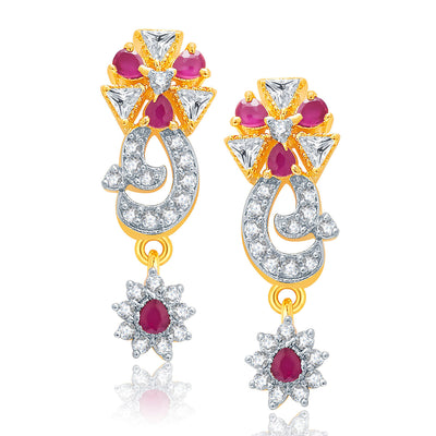 Pissara Fancy Gold And Rhodium Plated Ruby CZ Pendant Set For Women-2