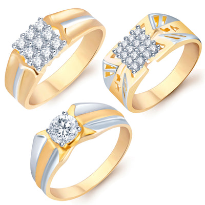 Pissara Stylish Gold Plated CZ Set of 3 Gents Ring Combo For Men