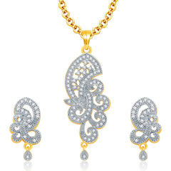 Pissara Astonishing Gold And Rhodium Plated CZ Pendant Set For Women