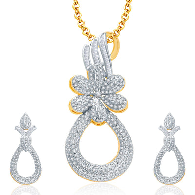 Pissara Feminine Gold And Rhodium Plated CZ Pendant Set For Women