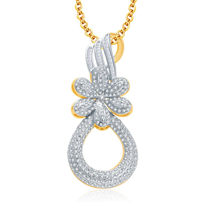 Pissara Feminine Gold And Rhodium Plated CZ Pendant Set For Women-1