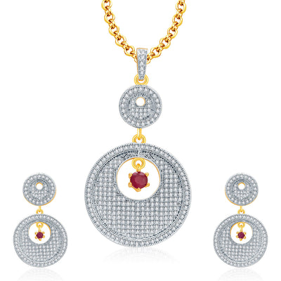 Pissara Fancy Gold And Rhodium Plated Ruby CZ Pendant Set For Women