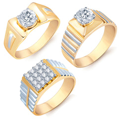 Pissara Graceful Gold Plated Solitaire Set of 3 Gents Ring Combo For Men