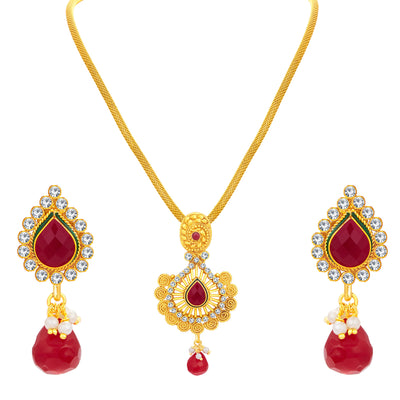Sukkhi Ritzy Jalebi Gold Plated AD Pendant Set For Women