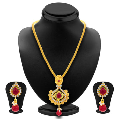 Sukkhi Ritzy Jalebi Gold Plated AD Pendant Set For Women-1