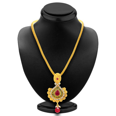 Sukkhi Ritzy Jalebi Gold Plated AD Pendant Set For Women-3