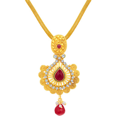 Sukkhi Ritzy Jalebi Gold Plated AD Pendant Set For Women-2