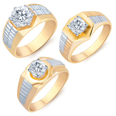 Pissara Glimmery Gold Plated Solitaire Set of 3 Gents Ring Combo For Men