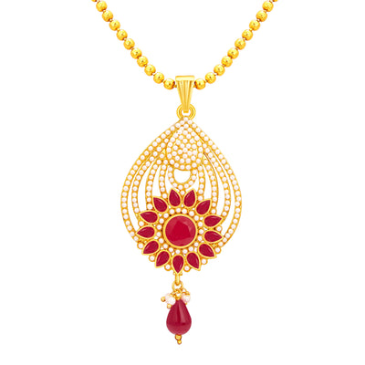 Sukkhi Dazzling Gold Plated AD Pendant Set For Women-2