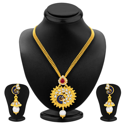 Sukkhi Charming Peacock Gold Plated Kundan Pendant Set For Women-1