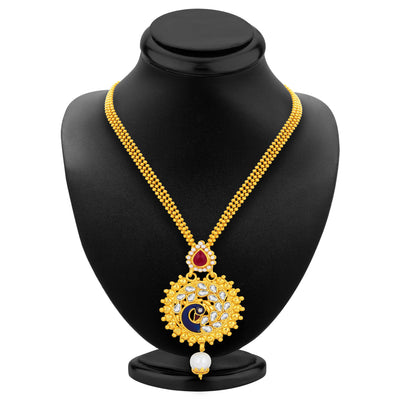Sukkhi Charming Peacock Gold Plated Kundan Pendant Set For Women-3