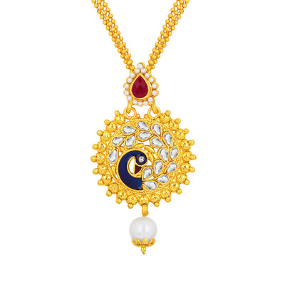Sukkhi Charming Peacock Gold Plated Kundan Pendant Set For Women-2