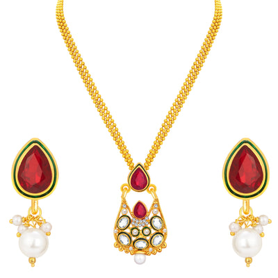 Sukkhi Astonishing Gold Plated AD Pendant Set For Women