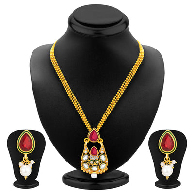 Sukkhi Astonishing Gold Plated AD Pendant Set For Women-1