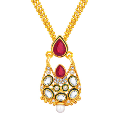 Sukkhi Astonishing Gold Plated AD Pendant Set For Women-2
