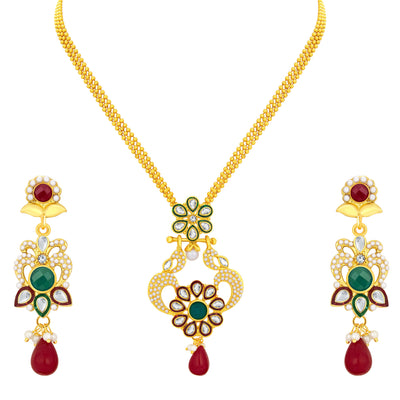 Sukkhi Fashionable Gold Plated AD Pendant Set For Women
