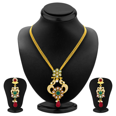 Sukkhi Fashionable Gold Plated AD Pendant Set For Women-1