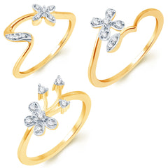 Sukkhi Delightful Gold Plated CZ Set of 3 Ladies Ring Combo For Women