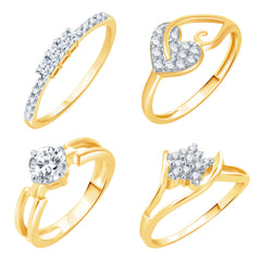 Sukkhi Artistically Gold Plated CZ Set of 4 Ladies Ring Combo For Women-9