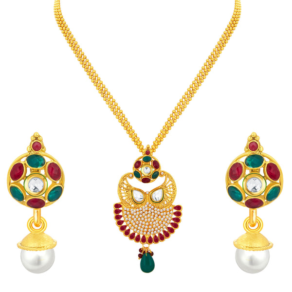 Sukkhi Exquisite Gold Plated Pendant Set For Women