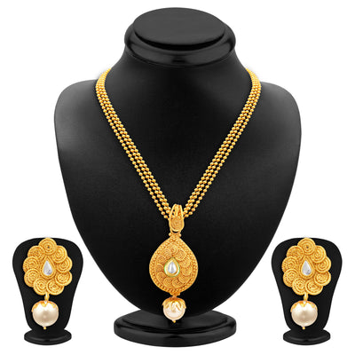 Sukkhi Fine Jalebi Gold Plated Kundan Pendant Set For Women-1
