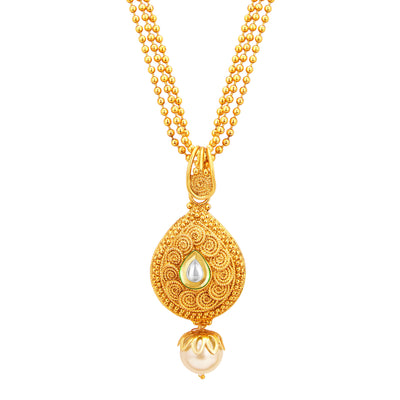 Sukkhi Fine Jalebi Gold Plated Kundan Pendant Set For Women-2