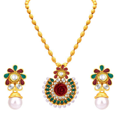 Sukkhi Fancy Gold Plated Pendant Set For Women