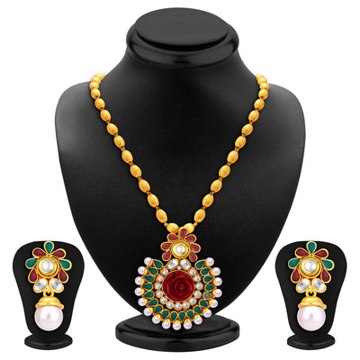 Sukkhi Fancy Gold Plated Pendant Set For Women-1