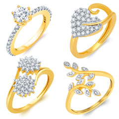 Sukkhi Ritzy Gold Plated CZ Set of 4 Ladies Ring Combo For Women