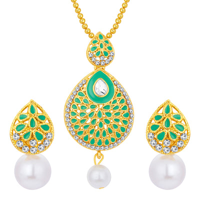 Sukkhi Ethnic Gold Plated AD Pendant Set For Women