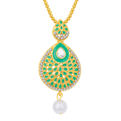Sukkhi Ethnic Gold Plated AD Pendant Set For Women-1