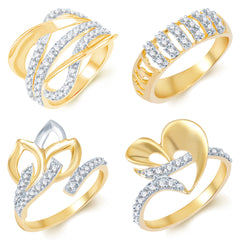 Sukkhi Fascinating Gold Plated CZ Set of 4 Ladies Ring Combo For Women